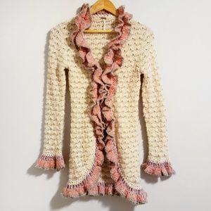 Free People Ruffled Knit Bohemian Cardigan Small